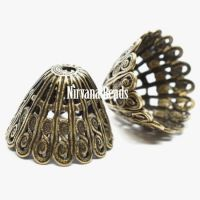 10x14mm Filigree Cap Oxidized Brass