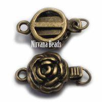 14mm Flower Clasp Oxidized Brass