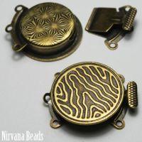 18mm Circular Box Clasp Oxidized Brass