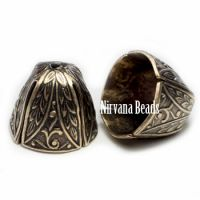 12x14mm Decorative Cap Oxidized Brass
