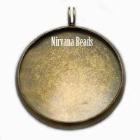 27mm Pendant Blank Bezel Oxidized Brass