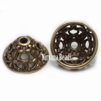 6x12mm Filigree Cap Oxidized Brass