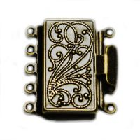 21x23mm Five Strand Box Clasp Oxidized Brass