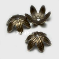 10mm Flower Cap Oxidized Brass