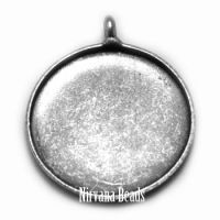 18mm Pendant Blank Bezel Silver Plated Brass