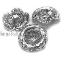 7x21mm Filigree Flower Silver Plated Brass