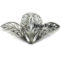 27x37mm Connector Silver Plated Brass Leaf
