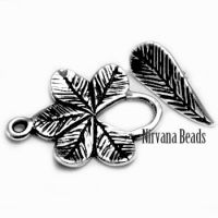 18x25mm Leaf Toggle Silver Plated Brass