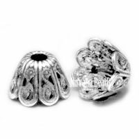 6x9mm Filigree Cap Silver Plated Brass