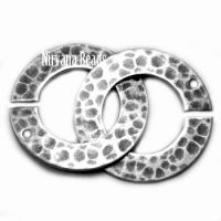 22mm Hammered Ring Clasp Silver Plated Brass