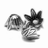 5x7mm Flower Cap Silver Plated Brass