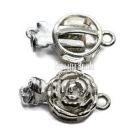 14mm Flower Clasp Silver Plated Brass