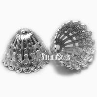 10x14mm Filigree Cap Silver Plated Brass