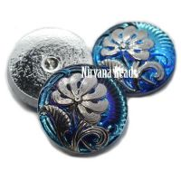 18mm Pincushion Flower Cabochon Medium Sky Blue and Sapphire with Silver Accents