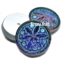 18mm Star Flower Cabochon Volcano with a Turquoise Wash