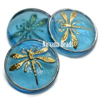 18mm Dragonfly Cabochon Medium Sky Blue with Gold