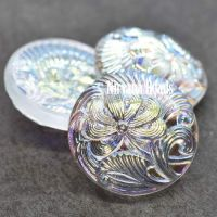 18mm Pincushion Flower Cabochon Transparent Glass with AB Finish