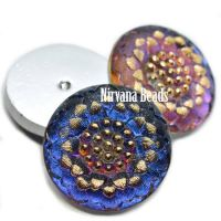 22mm Cabochon Daisy Flower Cabochon Volcano with Gold Accents