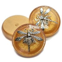 18mm Dragonfly Cabochon Matte Gold with Silver Dragonfly