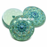 18mm Mandala Cabochon Peridot with Sea Green Wash and Electric Blue Center and AB Finish