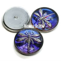 18mm Dragonfly Cabochon Volcano with Silver Dragonfly