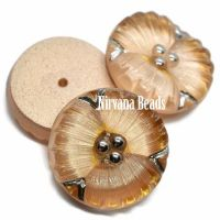 18mm Flower Cabochon Camel with Silver Accents