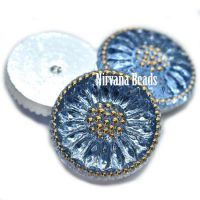 18mm Daisy Cabochon Sky Blue with Gold Accents