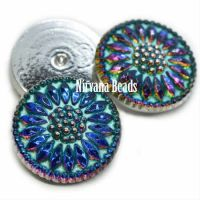 18mm Daisy Cabochon Volcano with Turquoise Wash and Silver Accents