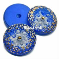 18mm Arabian Star Cabochon Cobalt with Gold Accents