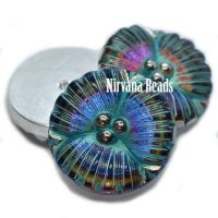 18mm Flower Cabochon Volcano with Sea Green Wash and Silver Accents