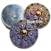 27mm Cabochon Decorative Button Volcano with Gold Accents