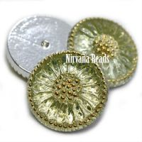 18mm Daisy Cabochon Kelly Green with Gold Accents