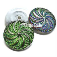 18mm Pinwheel Cabochon Vitrail with Silver Accents