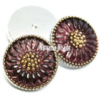 18mm Daisy Cabochon Plum with Gold Accents