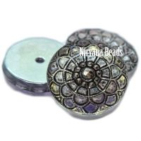 18mm Mandala Cabochon Transparent Glass with Black Wash, AB Finish, and Silver Accents