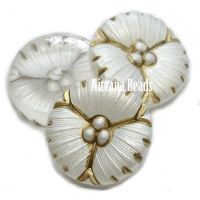 18mm Flower Cabochon Pearl White with Metallic Brown Wash