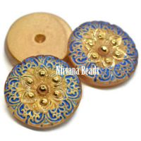 18mm Arabian Star Cabochon Gold and Cobalt