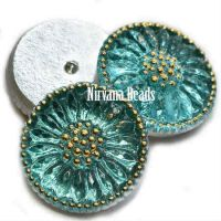 18mm Daisy Cabochon Sea Green and Gold Accents
