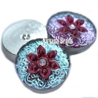 18mm Arabian Star Cabochon Teal with Magenta