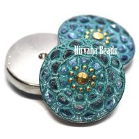 18mm Mandala Cabochon Slate Blue with Sea Green Wash and Gold Accents