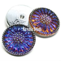 18mm Daisy Cabochon Volcano with Silver Accents