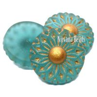 18mm Cabochon Matte Blue-Green with Gold Accents