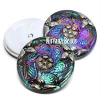 27mm Flower Leaves Cabochon Vitrail Green with Silver Accents