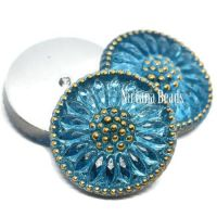 18mm Cabochon Medium Sky Blue with Gold Accents