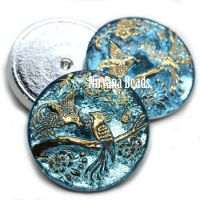 27mm Cabochon Peacock Medium Blue with Gold Accents