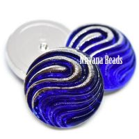 18mm Swirl Cabochon Sapphire with Silver Accents