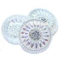 18mm Daisy Cabochon Transparent Glass with AB Accents
