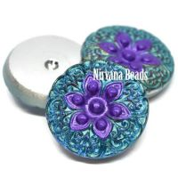 18mm Arabian Star Cabochon Volcano with Sea Green Wash and Purple Center