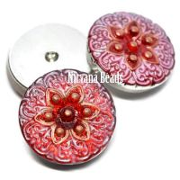18mm Button Scarlet Red with Pink Wash and Copper Accents