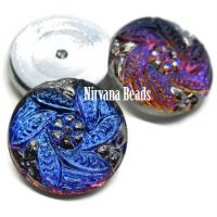 18mm Flower Leaves Cabochon Volcano with Silver Accents